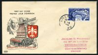 Lot 22229:1951 Textile Industry 25f blue tied to illustrated FDC by Lille cds 9-4 1951.