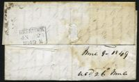 Lot 20479 [2 of 2]:1849 entire to Scotland with poor MONTREAL LC cds in red and fine boxed 'GREENOCK/JN 26/1849 M' backstamp in black.