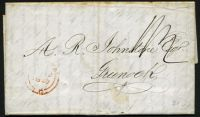 Lot 20479 [1 of 2]:1849 entire to Scotland with poor MONTREAL LC cds in red and fine boxed 'GREENOCK/JN 26/1849 M' backstamp in black.