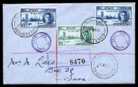 Lot 4037 [1 of 2]:1947 Registered cover with Victory set tied by Suva cds 31 MR47, Last Day of Issue cover.