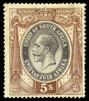 Lot 4449:KGV: 5/- brown & black.