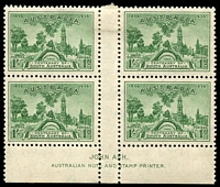Lot 564:1936 SA Centenary BW #173z 1/- green Ash imprint block of 4 (2**).