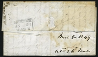 Lot 3655 [2 of 2]:1849 entire to Scotland with poor MONTREAL LC cds in red and fine boxed 'GREENOCK/JN 26/1849 M' backstamp in black.