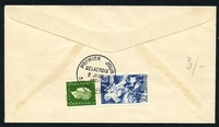 Lot 21286 [2 of 2]:1951 National Relief Fund SG #1114 8f+2f Delacroix tied to illustrated FDC by SAINT MAURICE cds 2 JUIN 1951, unaddressed.