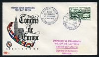 Lot 21291:1952 Council of Europe 30f green tied to illustrated FDC by STRASBOURG cds 31 MAI 1952.