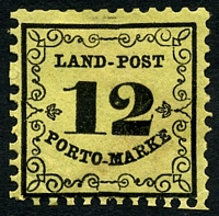 Lot 3975:1862 Mi #3 12Kr black/yellow thin paper, Cat €45