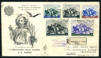 Lot 4601 [1 of 2]:1949 Garibaldi Airs Cat #398-402 set tied to Registered illustrated FDC.