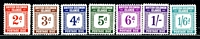 Lot 4161:1940 Postage Dues SG #D1-8 set, couple minor tones low values, Cat £85. (8)