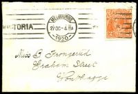 Lot 841:1920 neat small cover with 2d orange KGV BW #95 tied by Melbourne machine cancel 27OC 1920.