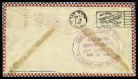 Lot 29284 [2 of 2]:1932 Zeppelin cover Lakehurst to San Diego carried on U.S.S. Akron on 'Coast to Coast' trip with faint purple cachet on front and fine cachet backstamp.