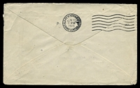 Lot 587 [2 of 2]:1918 cover to USA with 2½d Indigo Third Wmk Kangarooo tied to cover Melbourne HELP TO WIN THE WAR ..... slogan cancel with PASSED BY CENSOR triple oval handstamp in violet.
