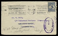 Lot 587 [1 of 2]:1918: cover to USA with 2½d Indigo Third Wmk Kangarooo tied to cover Melbourne HELP TO WIN THE WAR ..... slogan cancel with PASSED BY CENSOR triple oval handstamp in violet.