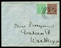 Lot 1108:1920 cover to Wonthaggi with ½d green and 1½d chocolate KGV tied by Mortlake 8NO 20 cds.