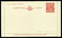 Lot 992:1930-39 2d Red KGV Sideface New Design 'TO OPEN THIS LETTERCARD' BW #LC64 on white, unused.