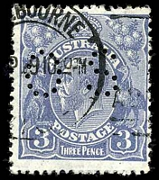 Lot 364:3d Blue Die Ia - BW #107ba type A perf 'OS'.