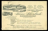 Lot 3238 [1 of 2]:1900 use of Post card to Sydney with fine advert for Franz Schonbach Riegersdorf Manufacturer of Metal Buttons, nice early advertising card.