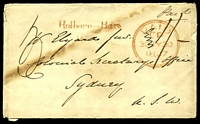 Lot 1089 [1 of 2]:1847 inwards GB cover to Sydney with Holborn - Bars straight line handstamp in red Paid double circle 30JY 1847, manuscript 1/- in black and backstamped SHIP LETTER SYDNEY NSW DE 5 1847.