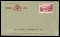 Lot 26193:Lettercard: 1953 Stampless Territories Lettercard with 4d Ball Bay affixed, unused.