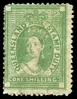 Lot 1315:1866-68 Postal Fiscals Wmk 1st Fiscal Crown/Q SG #F12 1/- blue-green.