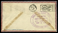 Lot 4494 [2 of 2]:1932 Zeppelin cover Lakehurst to San Diego carried on U.S.S. Akron on 'Coast to Coast' trip with faint purple cachet on front and fine cachet backstamp.