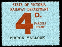 Lot 1884:1941-53 Ninth Series - First Issue IPC #3.1514 4d red on pale blue issued for Pirron Yallock, scarce.
