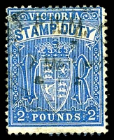 Lot 9838:Stamp Duty: 1882 Typo Wmk 33 P12 £2 blue, Craig # 3.97. [Rated R2.]