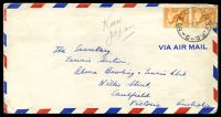 Lot 20012:1953 Air Mail cover to Victoria with ½d roo pair tied by 'NO.8.AUST BASE.P.O./29NO53/C' (A1 - Kure, Japan).