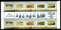 Lot 905:1988 Australian Bicentennial - the Early Years BW #1321c se-tenant gutter strip of ten with Opt of the First Fleet for Stamp & Coin Show Sydney