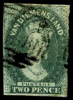 Lot 10509:1857-69 Imperf Chalon Wmk Double-Lined Numeral SG #34 2d slate-green 2½ clear margins, Cat £55.
