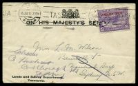 Lot 9108:1913 OHMS cover for Lands and Survey Department with 1d on 2d mauve Pictorial tied by Hobart machine cancel 15 JAN 13.