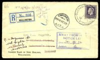 Lot 26611 [1 of 2]:1934 Registered cover to Dunedin with 4d violet KGV tied by Wellington cds 20SE 34 with boxed 'AWAY FROM H[OME]/NOTICE LEF[T]
