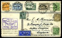 Lot 5373 [1 of 2]:1931 Australia - England AAMC #222,245 boomerang cover with Australian adhesives tied by Geelong cds 16NO31 and English adhesives tied by Sutton Coldfield cds 17DE 31 and Melbourne receiving machine cancel at base 22 JAN 1932.