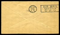 Lot 614 [2 of 2]:1934 New Zealand - Australia AAMC #360 illustrated special envelope with 7d blue Trans Tasman Opt Air cancelled by Auckland of 17FE34 with Special cachet in violet at lower left and backstamp Sydney 17 FEB 1934.