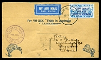 Lot 614 [1 of 2]:1934 New Zealand - Australia AAMC #360 illustrated special envelope with 7d blue Trans Tasman Opt Air cancelled by Auckland of 17FE34 with Special cachet in violet at lower left and backstamp Sydney 17 FEB 1934.