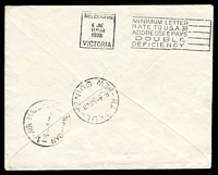 Lot 4955 [2 of 2]:1938 Australia - New Guinea - Australia AAMC #812 Boomerang cover with Australian and New Guinea adhesives tied by appropriate cancels, Cat $50.