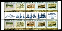 Lot 3452:1988 Australian Bicentennial - the Early Years BW #1321c se-tenant gutter strip of ten with Opt of the First Fleet for Stamp & Coin Show Sydney