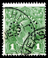 Lot 2253:1d Green perf 'OS' ACSC 80ba.