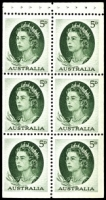 Lot 335:1959-66 QEII Definitives BW #400c 5d green booklet pane (B67).
