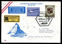 Lot 3118 [1 of 2]:1966 Innsbruck - Zurich Registered illustrated cover for Austrian Airlines with special Pictorial cancel 7 6 1966 with Zurich backstamp 7-6 66.