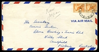 Lot 19548:1953 Air Mail cover to Victoria with ½d roo pair tied by 'NO.8.AUST BASE.P.O./29NO53/C' (A1 - Kure, Japan).