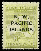 Lot 3944:1918-23 Kangaroos 3rd Wmk SG #109 3d greenish olive Die I.