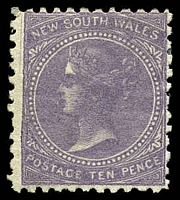 Lot 688:1867-93 DLR Wmk Single-Lined Numeral SG #206 10d lilac P11.