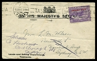 Lot 8818:1913 OHMS cover for Lands and Survey Department with 1d on 2d mauve Pictorial tied by Hobart machine cancel 15 JAN 13.