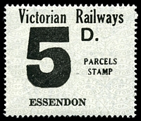Lot 2191:1958-66 Eleventh Series 5d black on white issued for Essendon.