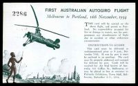 Lot 875 [2 of 2]:1934 Melbourne - Portland AAMC #461 Autogiro flight Postcard for Centenary of Victoria with special cachet.
