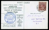 Lot 875 [1 of 2]:1934 Melbourne - Portland AAMC #461 Autogiro flight Postcard for Centenary of Victoria with special cachet.