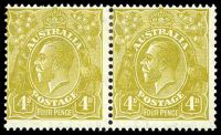 Lot 2629:4d Olive - BW #117(4)e [4L25] Roos tongue out left unit in pair.