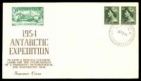 Lot 19451 [1 of 2]:1954 Antarctic Expedition illustrated cover with adhesives cancelled by Mawson cds 15FE54 with 1954 Expedition label in green on face and 1954 Expedition label featuring penguins in blue on reverse.