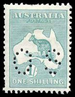 Lot 200:1/- Emerald BW #34b perf 'OS', Cat $70.