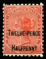 Lot 1198:1891 Surcharges SG #268 12½d on 1/- red P10.